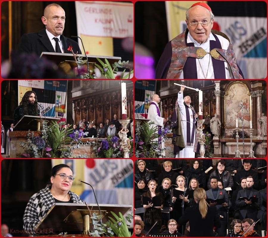Gery Keszler-Kardinal Christoph Schoenborn-Conchita Wurst-Maria